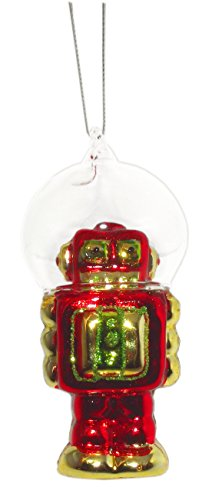 4.5″ Robot with Dome Helmet Ornament (Red)