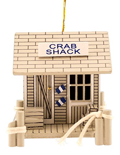 Wood Crab Shack Coastal 3 Inch Christmas Holiday Ornament