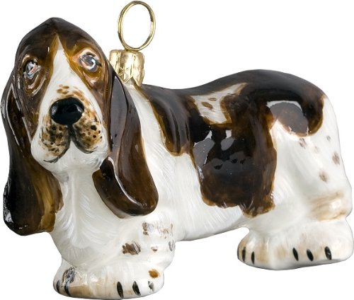 Joy to the World Collectibles European Blown Glass Pet Ornament, Basset Hound Standing