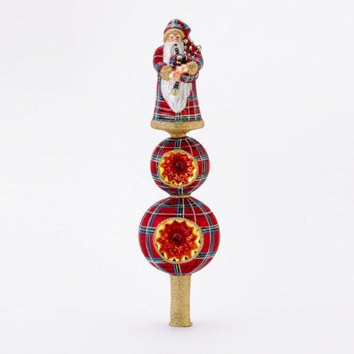 David Strand Glass Highland Fling Finial Santa Plaid Christmas Tree Topper