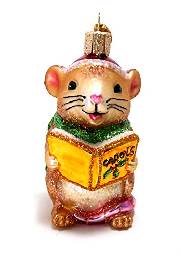 Old World Christmas Caroling Brown Mouse Ornament