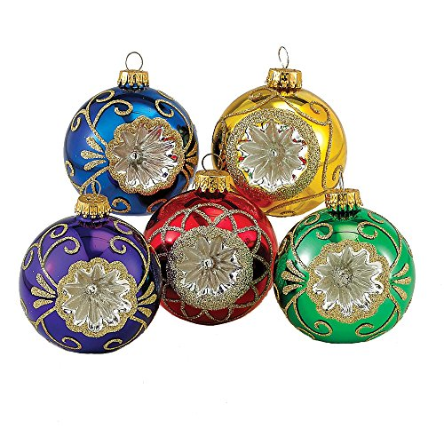 Kurt Adler Glass Reflector Ornament, 60mm, Multi-Colored, Set of 5