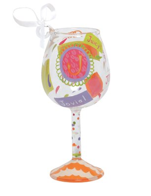 Lolita Hand Painted Mini Wine Ornament, Letter J