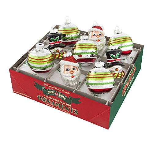 Shiny Brite Holiday Splendor Set of 9 2.5 Inch Ornaments with Santas and Snowmen
