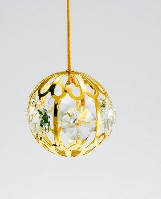 Mini Crystal Ball Holiday Ornament Gold Plated – Gift Boxed