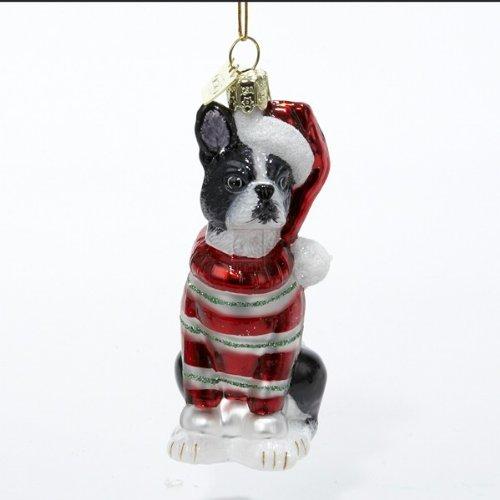 Kurt Adler Noble Gems Boston Terrier Glass Christmas Ornament