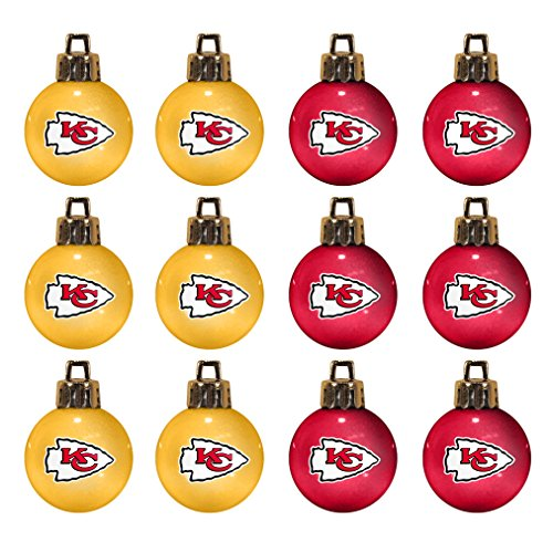 NFL Kansas City Chiefs 12-Pack Mini Ball Ornaments made of Durable Plastic, Miniature, Orange