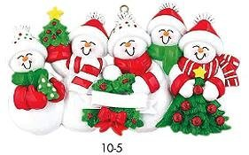 Snowman Family of 5 Personalized Christmas Holiday Ornament