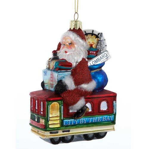 Kurt Adler Santa Sitting on San Francisco Trolley Glass Ornament, 5-Inch