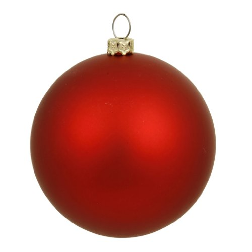 Vickerman 35041 – 6″ Red Matte Ball Christmas Tree Ornament (4 pack) (N591503DMV)