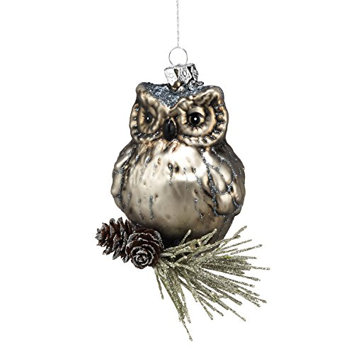 Department 56 Winter's Lodge Owl on Pinecone Ornament, 4-Inch
