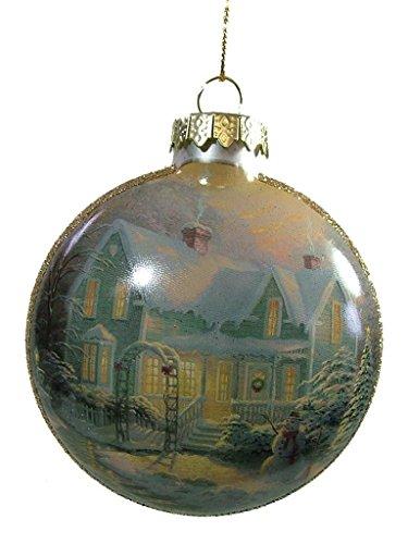Thomas Kinkade Satin Ball Glass Ornament – Blessings of Christmas