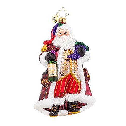 Christopher Radko Off the Vine Cabernet Santa Glass Christmas Ornament – 6″h.