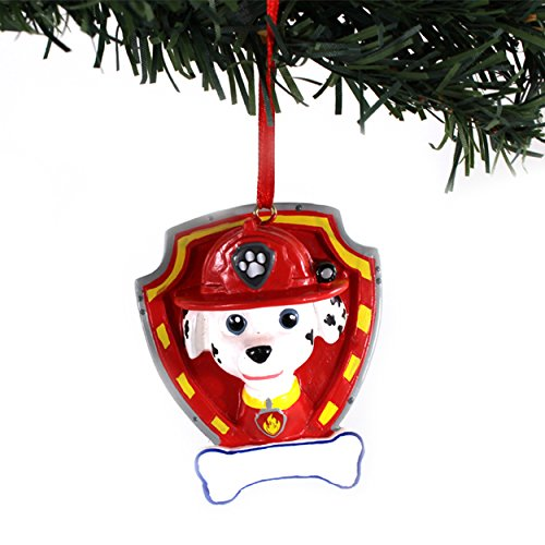 Paw Patrol Kurt Adler Personalizable Ornament Gift Boxed (Marshall Red Shield)
