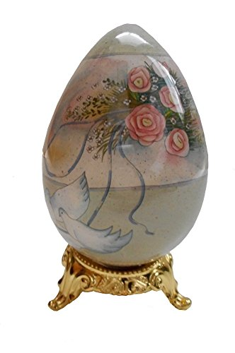 Ne'Qwa Art Glass Decorative Egg on Stand, Never Ends, Romantic
