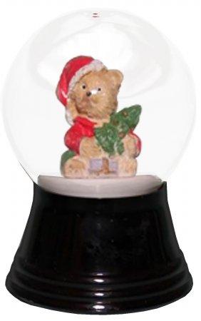 """PR1218 – Perzy Snowglobe, Small Teddy Santa – 2.75″""""H x 1.5″""""W x 1.5″""""D"""
