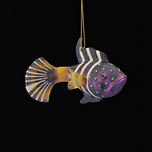 3.25″ Noble Gems Glittered Glass Purple and Yellow Wrasse Fish Christmas Ornament