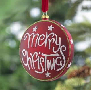 RAZ Imports – Merry Christmas Glass Disc Ornament 4″