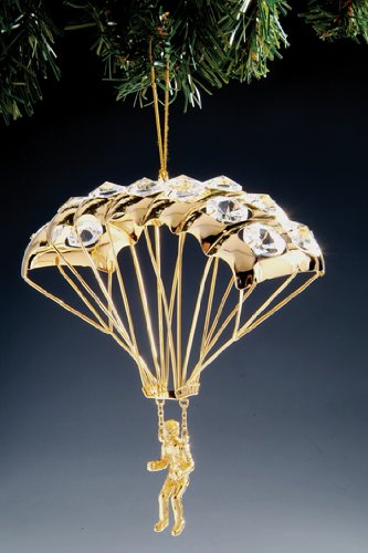 Parachutist Swarovski Crystal 24k Gold Plated Ornament