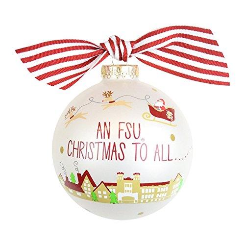 Santa's an FSU Fan Glass Ornament