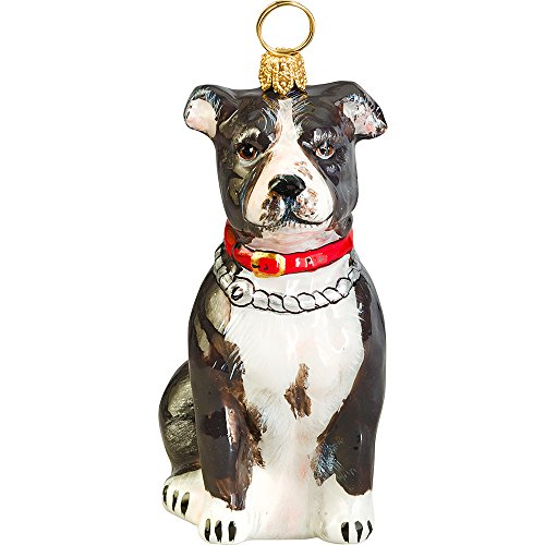 The Pet Set Blown Glass European Dog Ornament by Joy to the World Collectibles – Black White Staffordshire Pit Bull Terrier