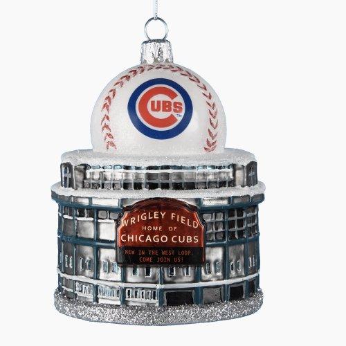 Kurt Adler 3-3/4-Inch Glass Chicago Cubs Wrigley Field with Baseball Figural Ornament