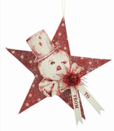 Bethany Lowe Christmas Merry Snowman Star Tag Ornament DF0098