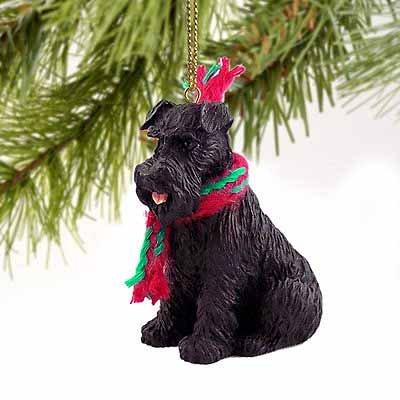1 X Schnauzer Miniature Dog Ornament – Uncropped – Black
