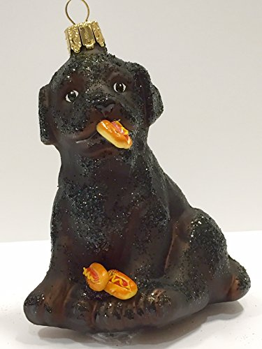 Ornaments to Remember: Black Labrador Puppy (Hot Dogs) Christmas Ornament