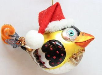 December Diamonds Cute Glass Bird Wearing Santa Hat Ornament. This is Blown Glass & Handpainted. The Perfect Christmas Ornament for any who loves Bird Watching!