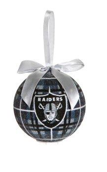NFL Licensed 100mm LED Glass Ball Ornament (Oakland Raiders)