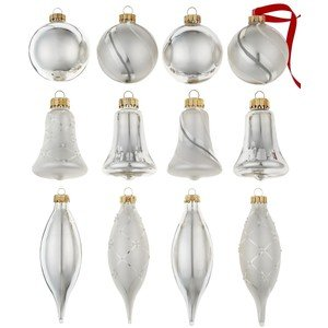 Martha Stewart Christmas Ornaments, Box of 12 Assorted Silver Glass