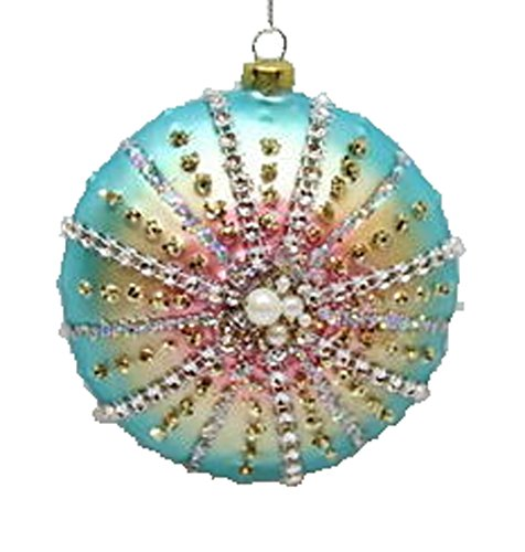 December Diamonds Blown Glass Ornament – Blue Pink Shell