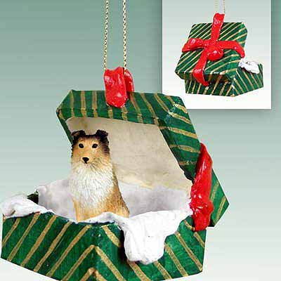 Conversation Concepts Sheltie Sable Gift Box Green Ornament
