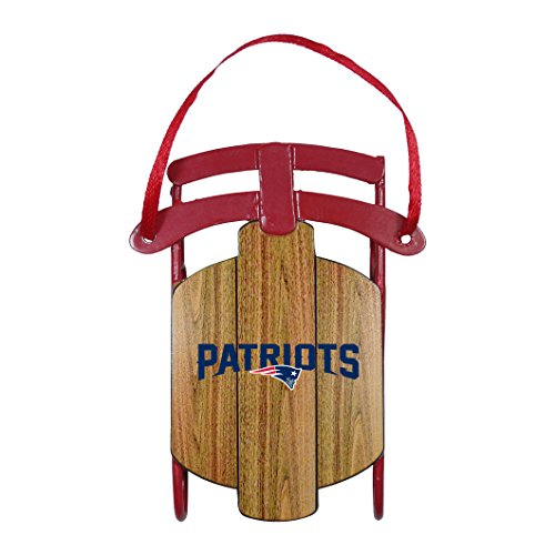 New England Patriots Official NFL 3.5 inch Metal Sled Christmas Ornament