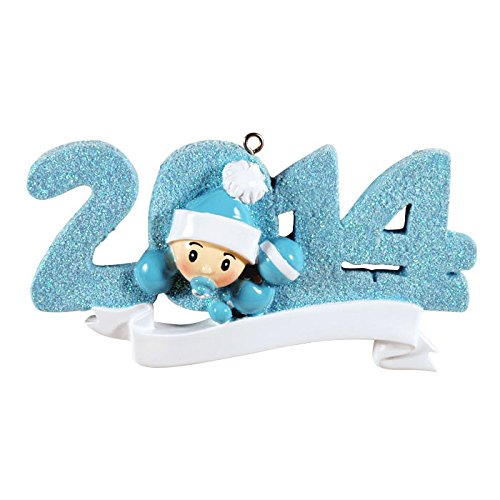 2014 Baby Blue Personalized Christmas Tree Ornament