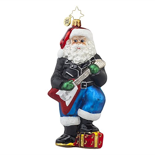 Christopher Radko Rockin' Nick Santa Glass Christmas Ornament – 6.5″h.