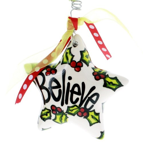 Glory Haus Holly Believe Puff Star Ornament, 4-Inch