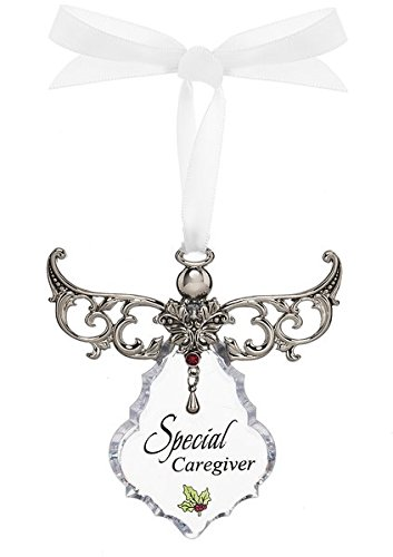 Special Caregiver Clear Angel Ornament with Ribbon For Hanging