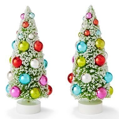 2 MARTHA Stewart MERRY Sisal CHRISTMAS TREES – 9.5″ TABLETOP Decorations MULTI-Colored ORNAMENTS – Bottlebrush Tree