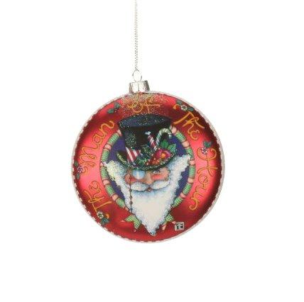 4″ Mary Engelbreit Santa Claus Man of the Hour Glass Christmas Disc Ornament