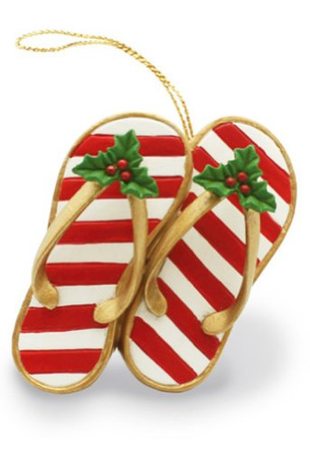 Hawaiian Christmas Ornament Festive Slippers