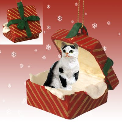 CAT Black n White Tabby Shorthair w/Paw UP sits in a Red Gift Box Christmas Ornament New Resin RGBC02