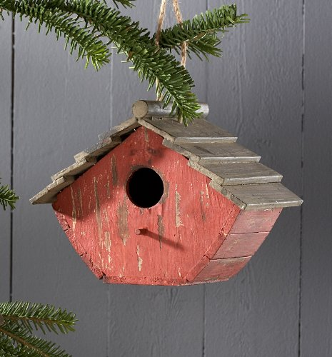 Short Red Birdhouse Ornament (Pack of 4)