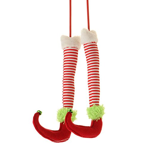 Red, White & Green Elf Legs (A Pair) – 12.5″ Long – Christmas Tree, Garland or Arrangement Decoration – RAZ Imports – Peppermint Toy Theme