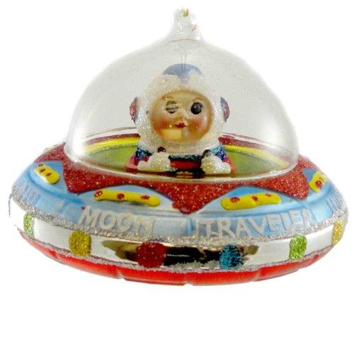 Holiday Ornament MOON TRAVLER Blown Gl;Ass Ornament Space Astronaut 3620248