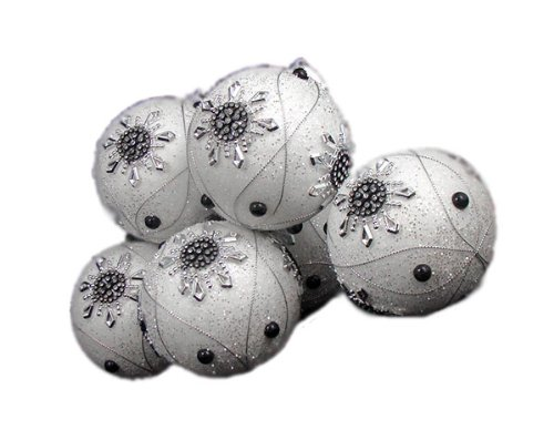 6 December Diamonds White Snowflake Shatterproof Christmas Ball Ornaments 3.75″