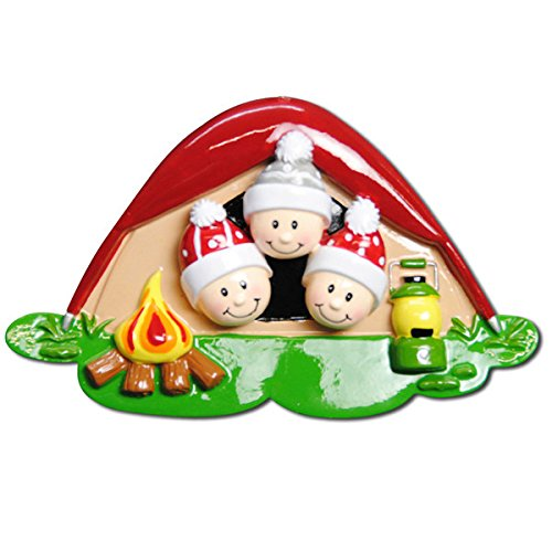 Pop Up Tent Face Family of 3 Personalized Christmas Tree Ornament