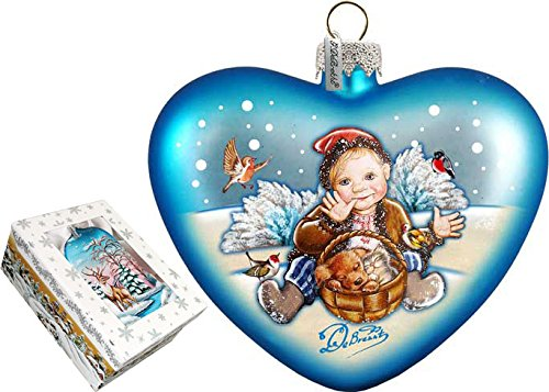 G. Debrekht Winter Fun Heart Glass Ornament