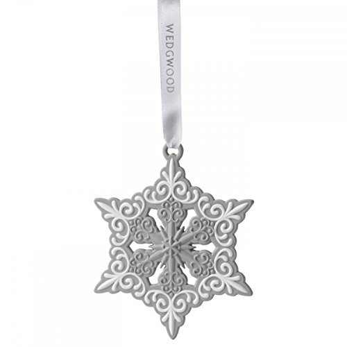 Wedgwood Pierced Snowflake Christmas Ornament, Grey